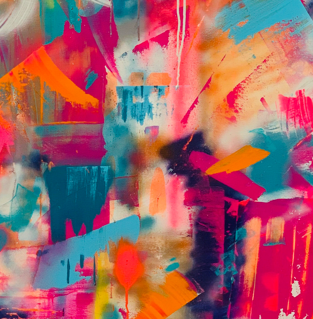 """Tequila Sunrise"" By Rachel Camilleri, Acrylic and Spray Paint on Canvas"