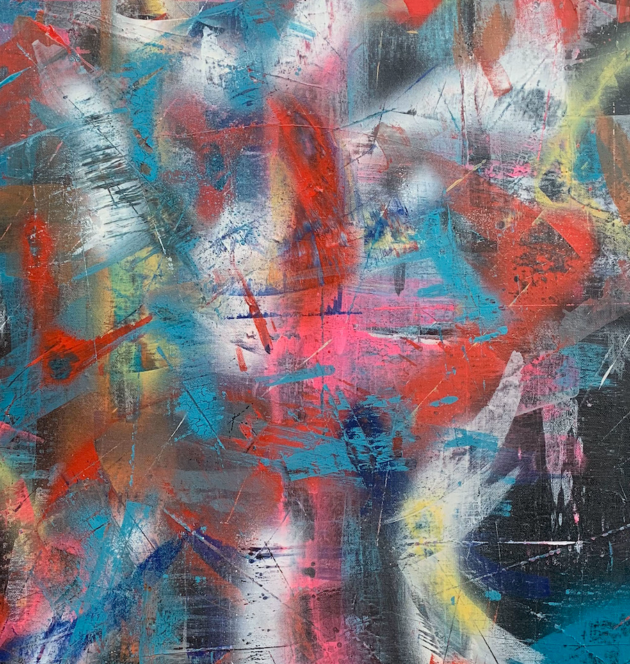 """Electra"" By Rachel Camilleri, Acrylic and Spray Paint on Canvas"