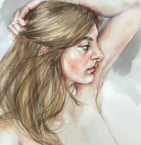 """Lola"" By Galina Richardson, Watercolor on Paper"