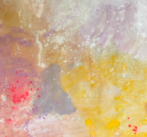 """Yellow and Pink"" By Kathleen Rhee, Mixed Media on Canvas"