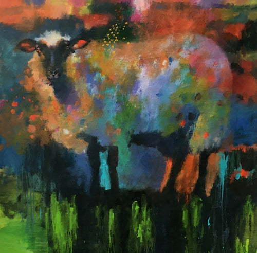 """Sheep 1"" By Nick Stamas, Oil on Canvas"