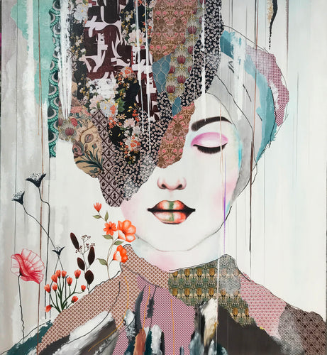 """Showing Up"" By Irene Hoff, Mixed Media on Canvas"