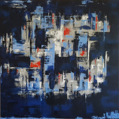 """Simply Blue"" By Sabine Kay, Oil on Canvas"