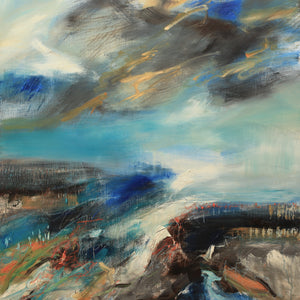 """The Sky Grew Darker, Painted Blue on Blue, Painted one Stroke at a Time"" By Lucy Marks, Oil on Wood Panel"