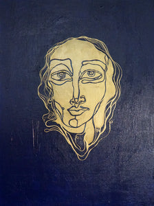 Tinker with Gold (Golden Face) by Banafsheh Daneshmaslak, Acrylic on Canvas