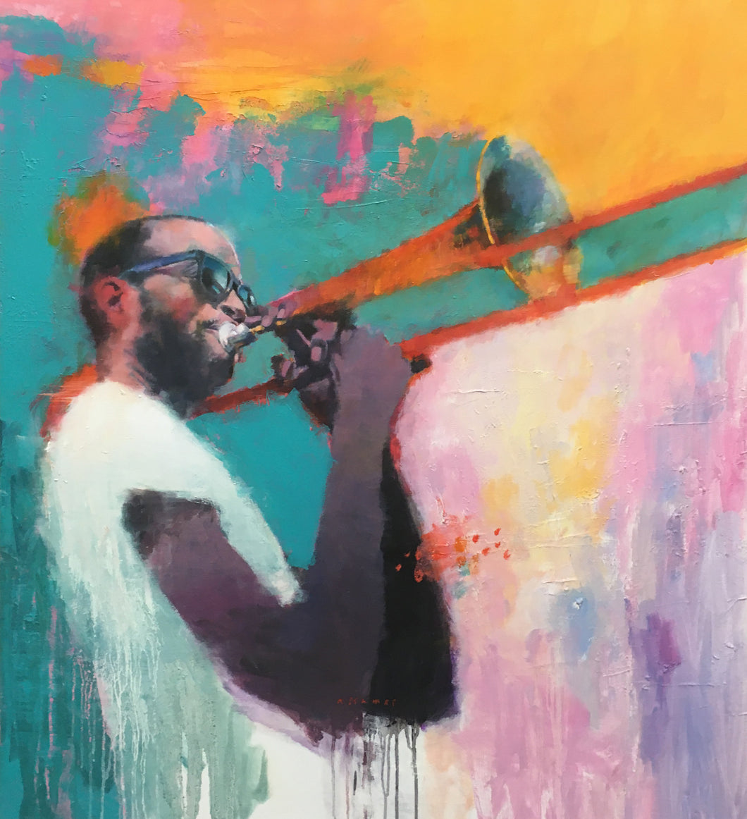 """Trombone Shorty"" By Nick Stamas, Oil on Canvas"