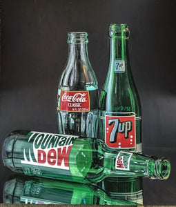 """Bottles"" By Rachel Kettelkamp, Acrylic on Canvas"