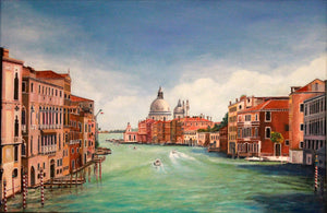 """Day on The Grand Canal""  By Corbett Bear, Oil On Canvas"