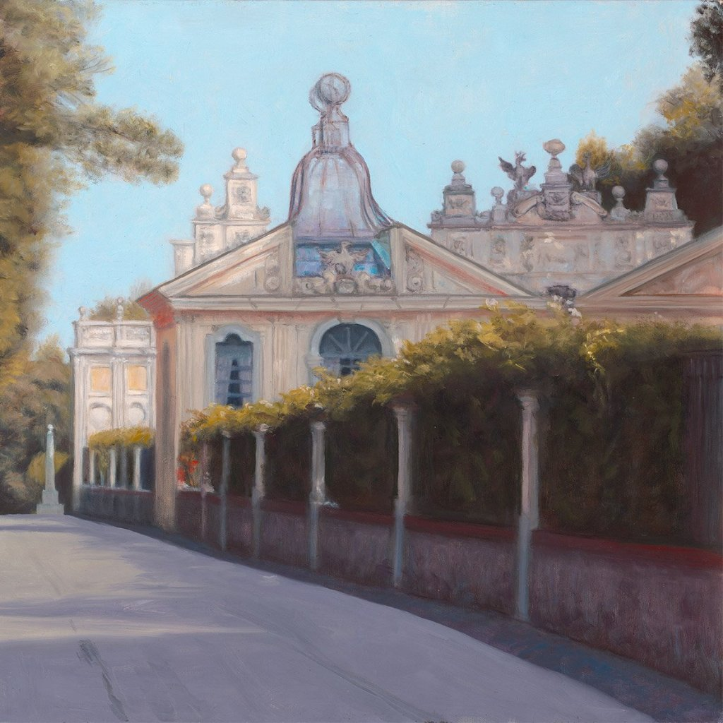 Borghese Gardens Aviary, by Terry Guyer, Oil on Linen (Framed)