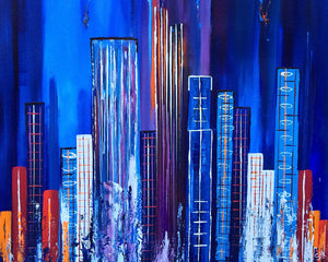 """Electroscape 2"" Susie Hall, Acrylics on gallery-wrapped canvas with the edges painted black"