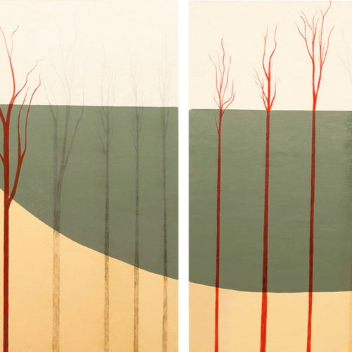"""October"" by Barbara  Nathanson, Acrylic, Graphite on Canvases"