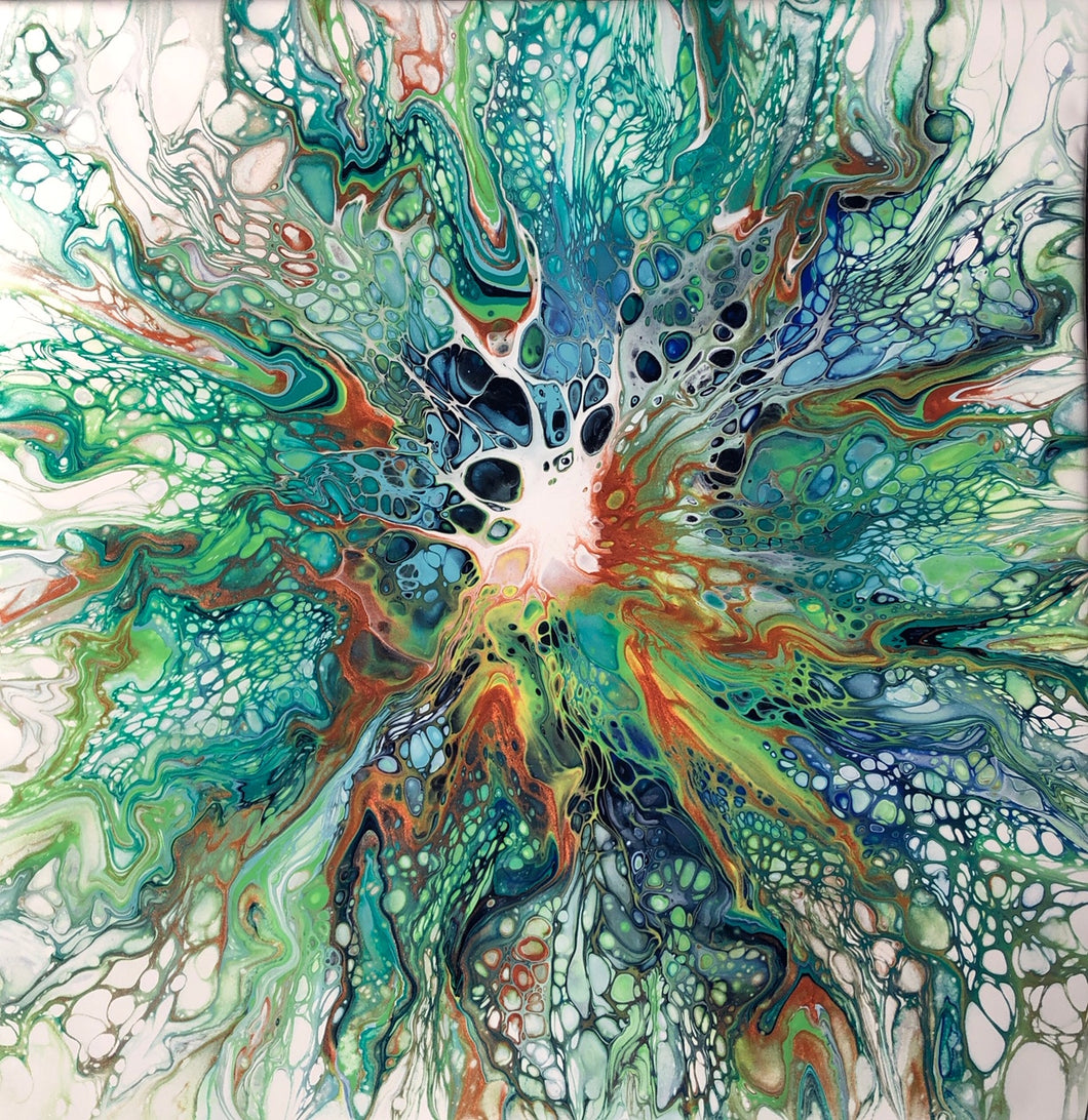 """Green Explosion"" By Farah Singer, Acrylic and Resin on Canvas"