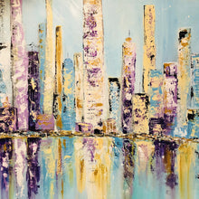 """Big Blue City"" By Lori Burke, Acrylic on Canvas"