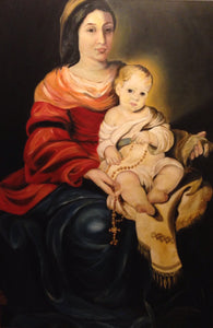 """Madonna with Rosary "" By Renata Bosnjak, Oil on Canvas"