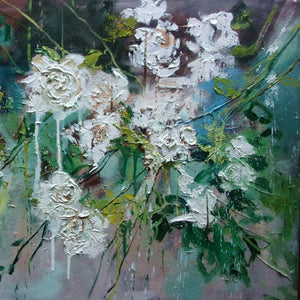 White Roses by Monika Luniak, Oil on Canvas