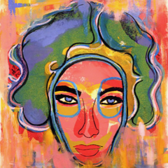 Liz Taylor's Death Mask by Sharon Volpe, Mixed Media on Fine Art Paper