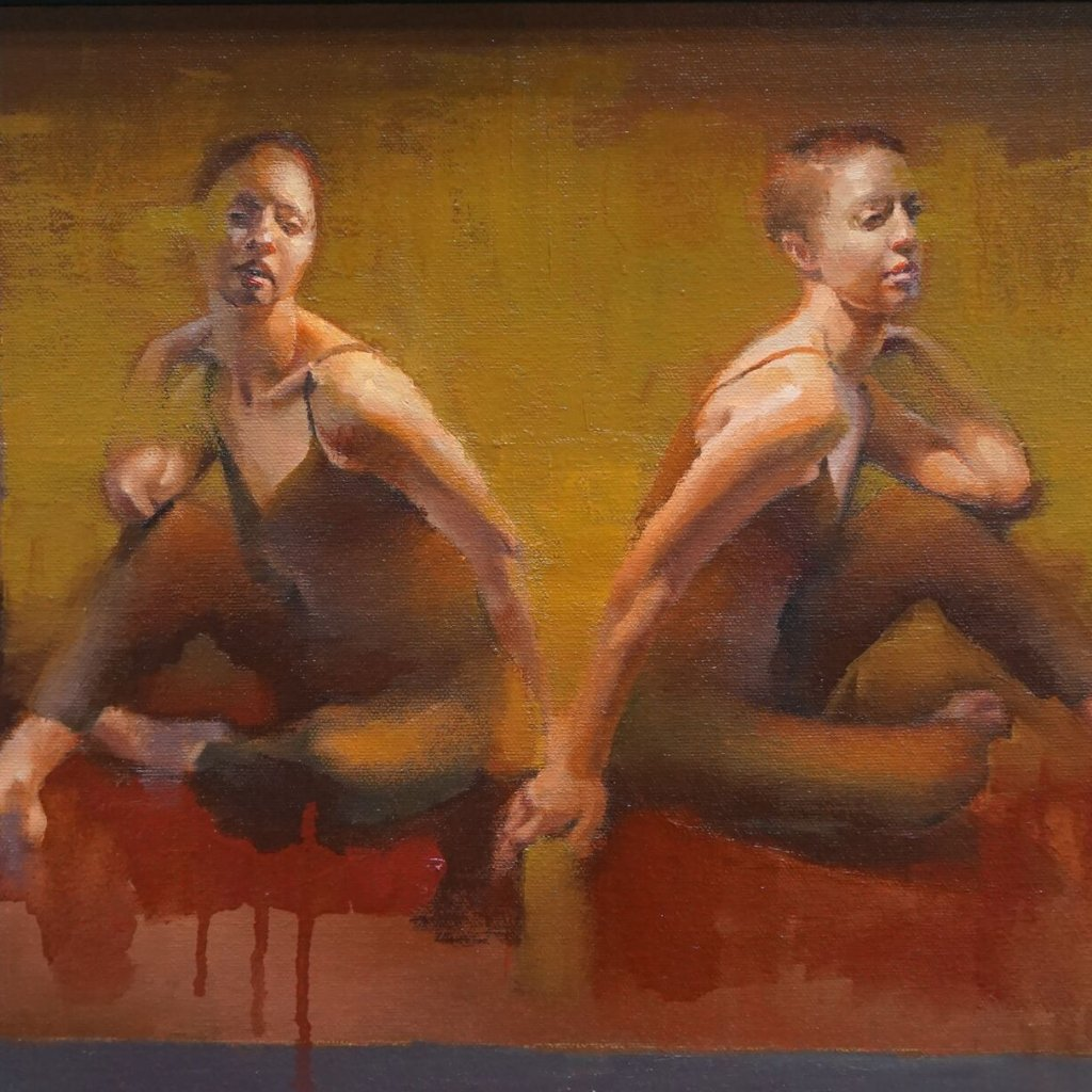 Duo 15 by Cathy Locke, Oil on Panel (Framed)