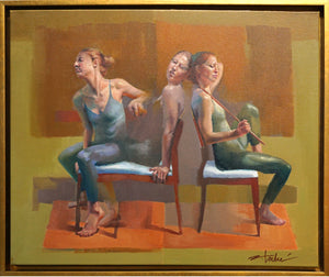 Trio in Red by Cathy Locke, Oil on Linen (Framed)