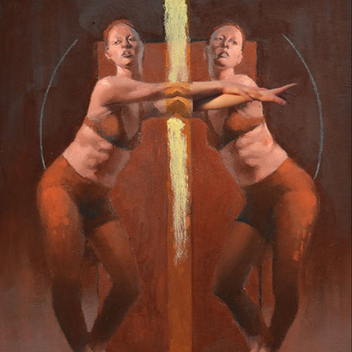 Duo 13 by Cathy Locke, Oil on Panel (Framed)