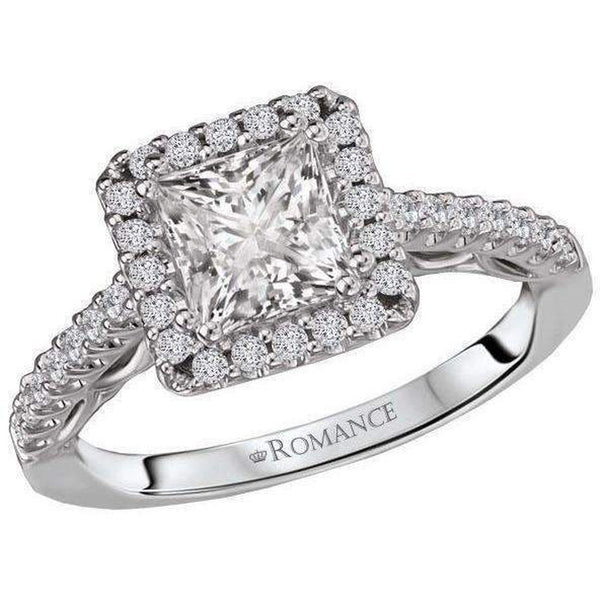 14k Romance Princess Halo Semi-Mount Diamond Ring