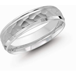Crater Finish White Gold Wedding Band