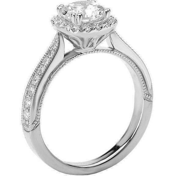 Romance Round Halo Semi-Mount Ring