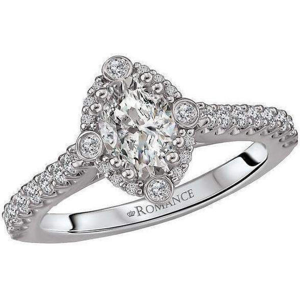 Romance Oval Halo Semi Mount Diamond Ring
