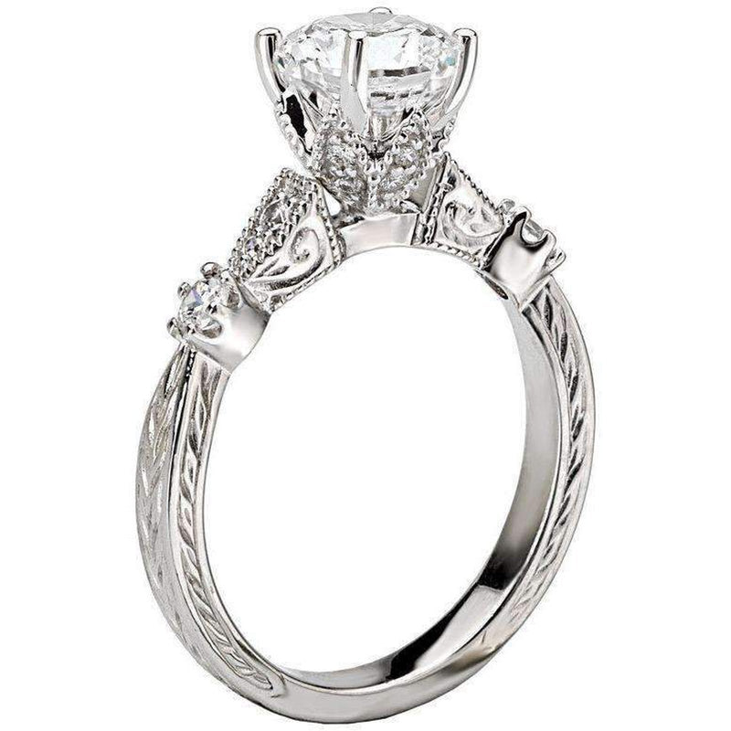 Romance Vintage Diamond Ring Semi-Mount 18k White Gold