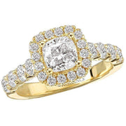 Romance Cushion Halo Semi-Mount Diamond Ring 18k
