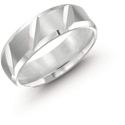 Deep Ridged Cut White Gold Wedding Band
