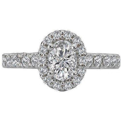Romance Oval Halo Semi-Mount Diamond Ring 18K