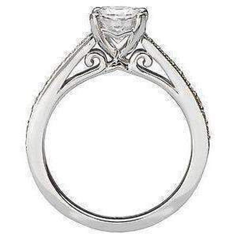 Classic Semi-Mount Diamond Ring Surrounded by Milgrain
