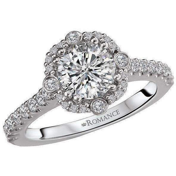 Romance Round Diamond Halo Semi-Mount Ring
