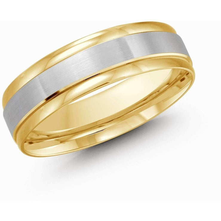 Yellow Gold with White Gold Brush Wedding Band