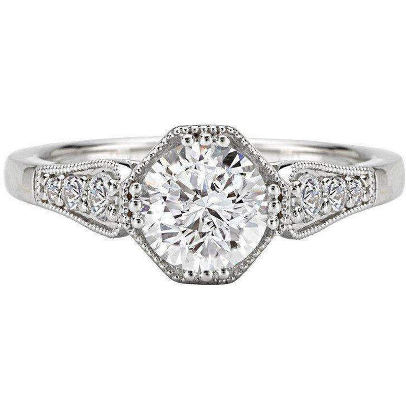 Romance Vintage Octagon Halo Semi-Mount Diamond Ring 18k