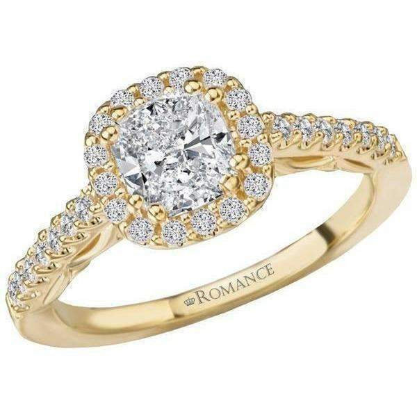 Romance Cushion Halo Semi-Mount Diamond Ring