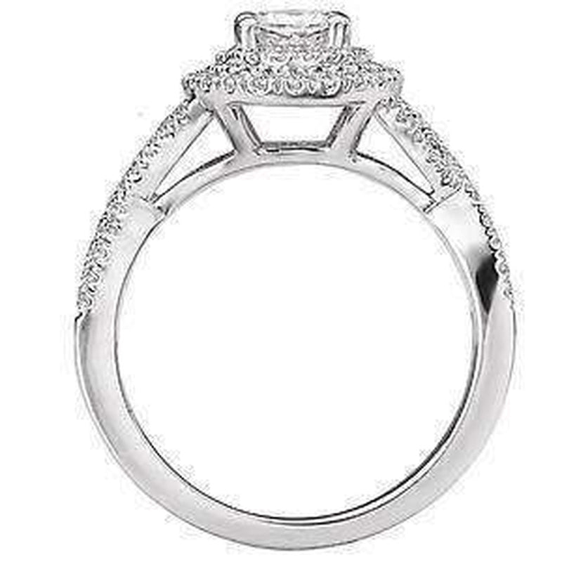Double Oval Halo Semi-Mount Engagement Ring
