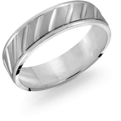 Brushed Ridged Cut White Gold Wedding Band