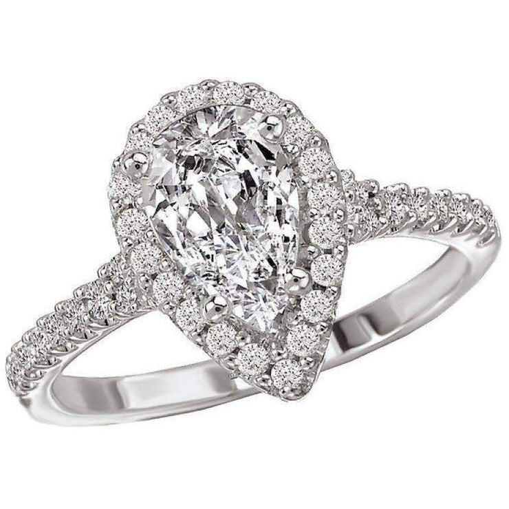 Romance Diamond Semi-Mount Ring with a Pear Center 18k