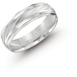 Crossed Wedding Bands.Rugged Crossed With Brush White Gold Wedding Band