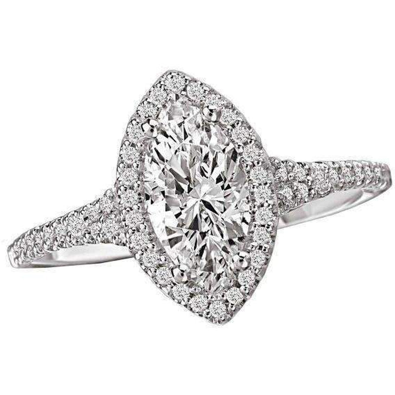 Romance Marquise Halo Semi-Mount Diamond Ring