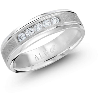 Five Diamond Brush Accent White Gold Wedding Band