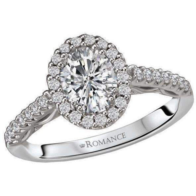 Romance Oval Halo Semi-Mount Diamond Ring