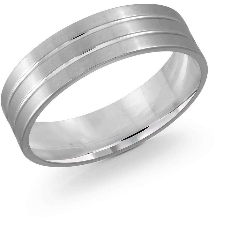 Double Lined White Gold Wedding Band