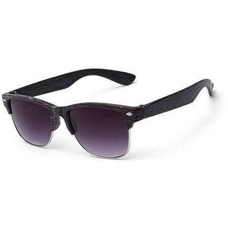 Wooden Black & Silver Sunglasses