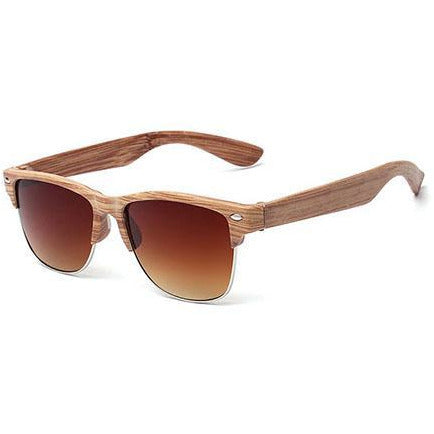 Wooden Brown & Silver Sunglasses