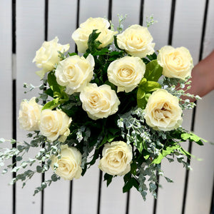 Romantic White Rose Bouquet