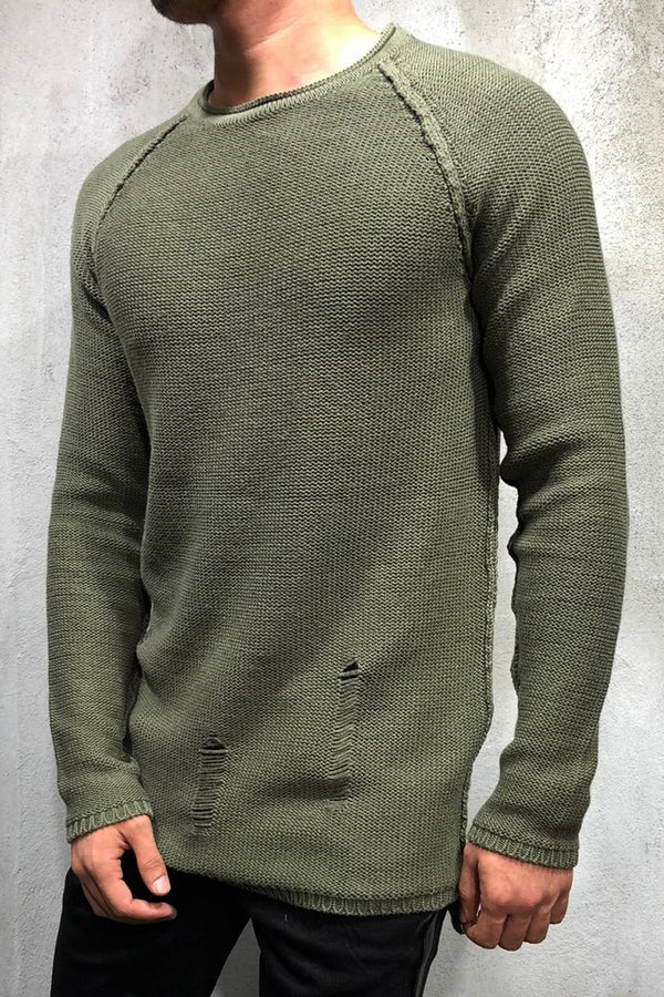 Destroyed Pullover Khaki 7026