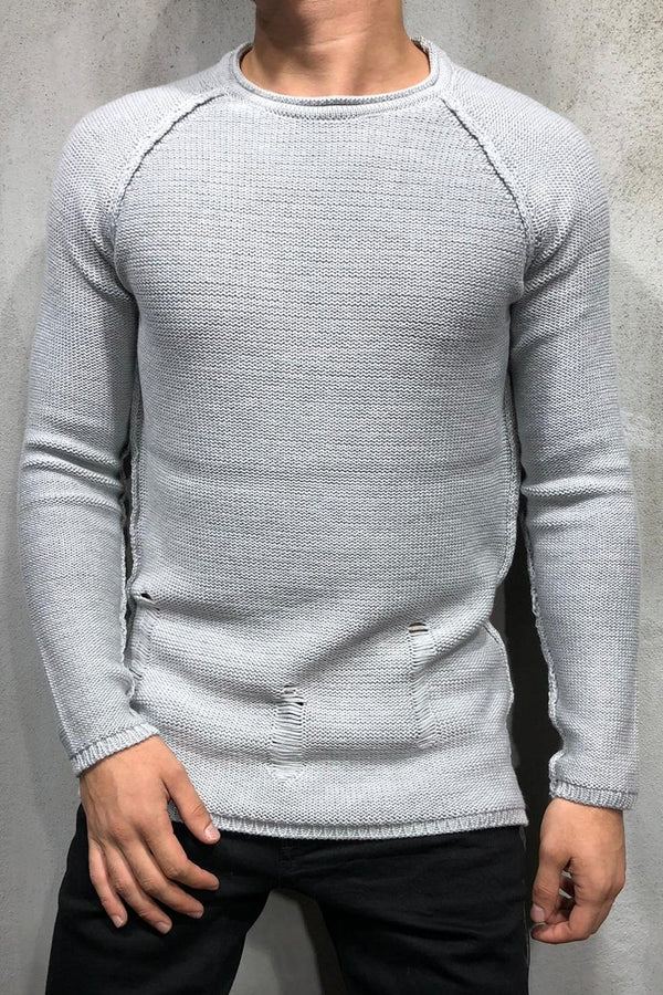 Destroyed Pullover Grau 7026