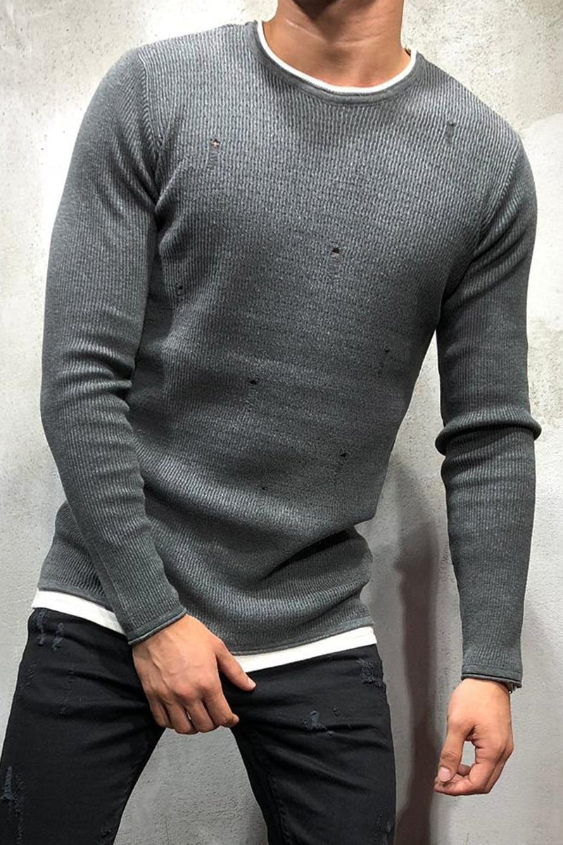 Destroyed Pullover Dunkelgrau 7001
